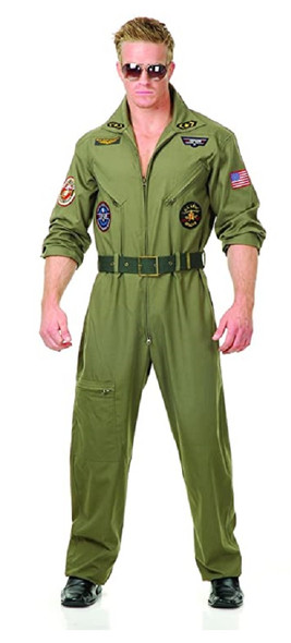 Deluxe Wingman Costume Outfit Mens Green Flight Jumpsuit Top Gun Inspired