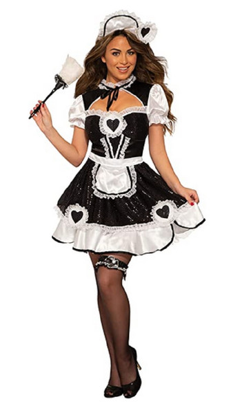 Sequin French Maid Black White Sexy Cleaning Lady Adult Women's Costume STD