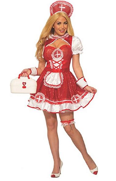 Sequin Hospital Nurse Red White Uniform Dress Sexy Adult Women's Costume STD