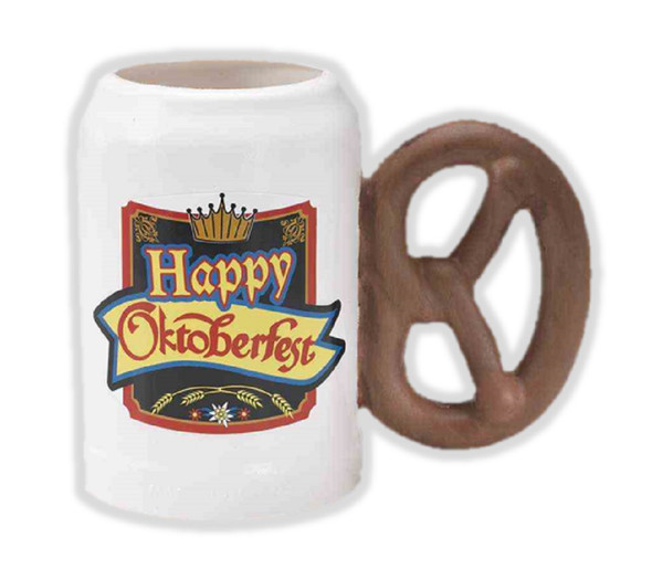 Happy Oktoberfest Plastic Beer Mug w Pretzel Handle Tankard Birthday Gift