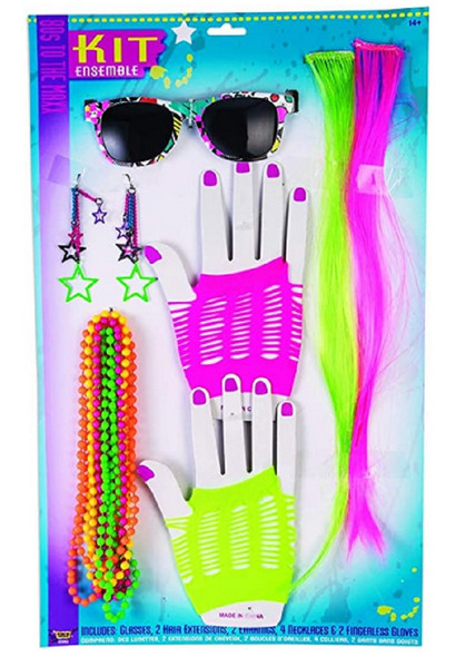 80's To The Max Kit Gloves Necklace Earring Sunglasses Neon Hair Extension Retro