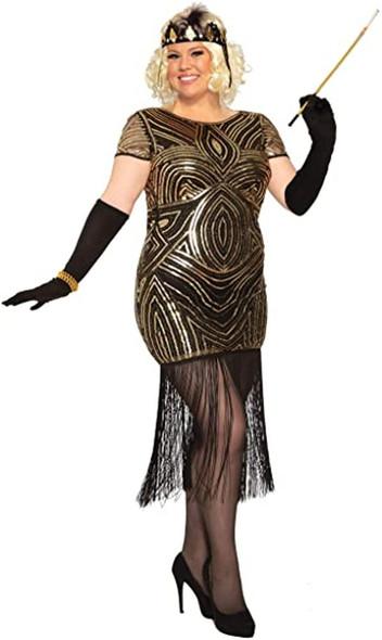Women's Art Deco Flapper Fringe Costume Fancy Dress Roaring 20's Plus Size