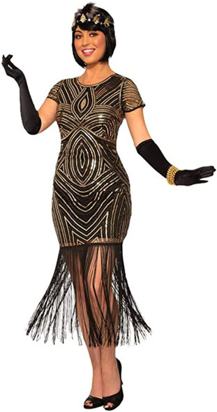 Women's Art Deco Flapper Fringe Costume Fancy Dress Roaring 20's Medium/Large