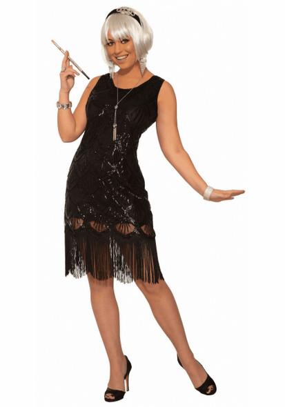 Women's Black Flapper Fringe Costume Fancy Dress Roaring 20's X-Small / Small
