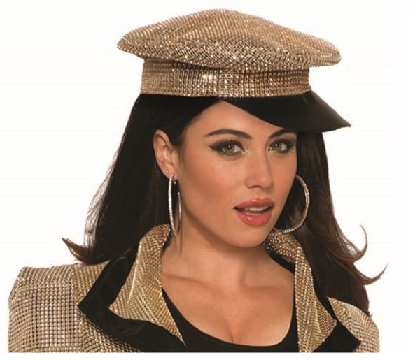 70s Disco Hat Retro Police Officer Gold Rhinestone Style Costume Accessory