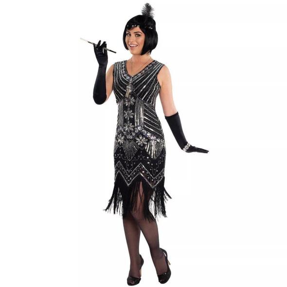 Women's Silver Screen Flapper Fringe Costume Dress Roaring 20's X-Small / Small