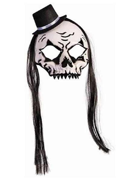 House Of Bonez Skull Mask w Black Hat & Hair Adult Halloween Costume Accessory