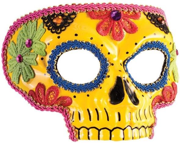 Day of the Dead Yellow Half Eye Mask Sugar Skull Lace Applique Costume Accessory