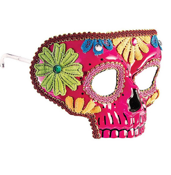 Day of the Dead Pink Half Eye Mask Sugar Skull Lace Appliques Costume Accessory