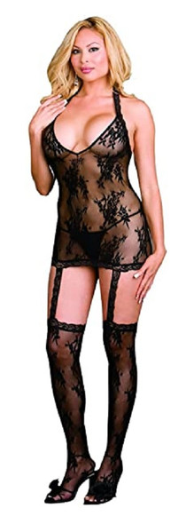Dreamgirl Black Floral Stretch Lace Halter Dress Thigh Highs Lingerie Queen Size