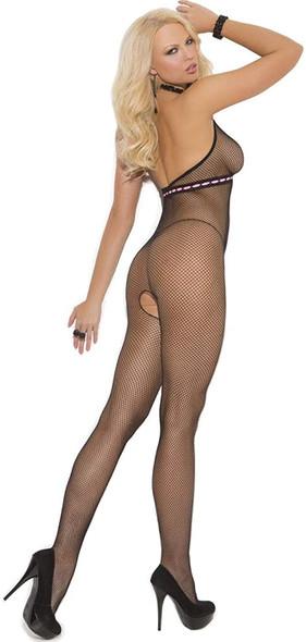Elegant Moments Women's Sexy Black Fishnet Bodystocking Lingerie OS