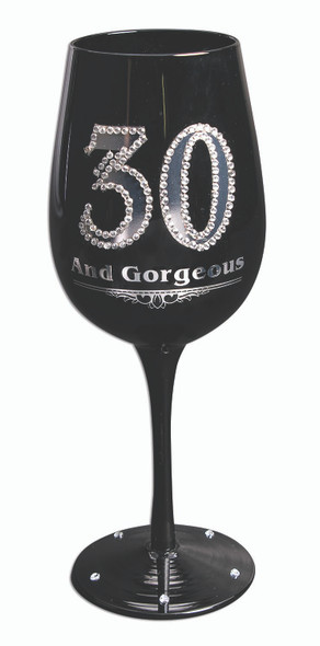 30 and Gorgeous Black Wine Glass Goblet Silver Gems Happy Birthday Gift