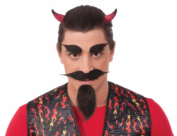 Devil Beard & Eyebrow Set Black Mustache Goatee Set Self Adhesive Facial Hair