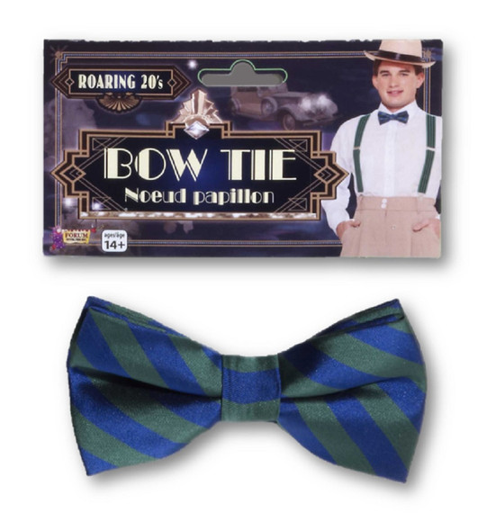 Roaring 20's Green & Blue Striped Bow Tie Adult Men's 1920's Costume Accessory
