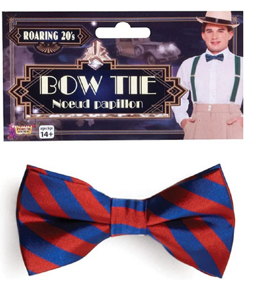 Roaring 20's Red & Navy Striped Bow Tie Adult Men's 1920's Costume Accessory