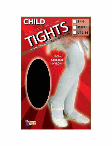 Lil' Tights Solid Black Tights Child Costume Accessory Medium 8-10 60-75lbs