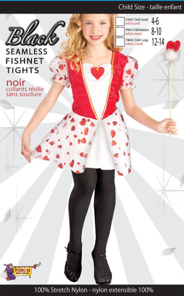Girl's Black Fishnet Tights Child Costume Accessory Large 12-14 70-100lbs
