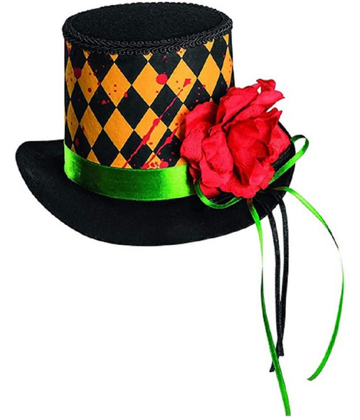 Sinister Sideshow Circus Clown Mini Top Hat Argyle Blood Adult Costume Accessory