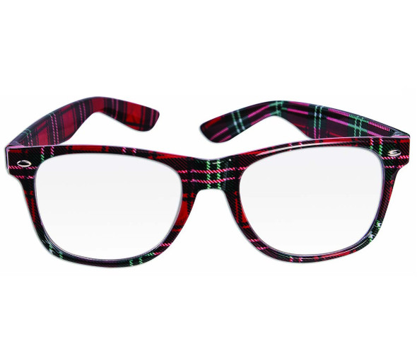 Fifties Nerd Glasses Hipster Red Plaid Eyewear Adult Costume Accessory