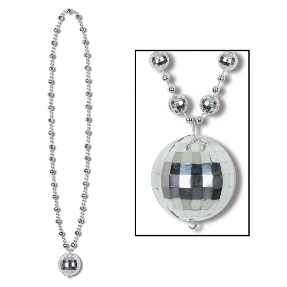 1970s Disco Ball Silver Beads Necklace Costume Accessory Novelty Jewelry