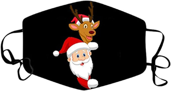 Christmas Santa Claus & Reindeer Holiday Face Covering Non-Medical Mask Washable