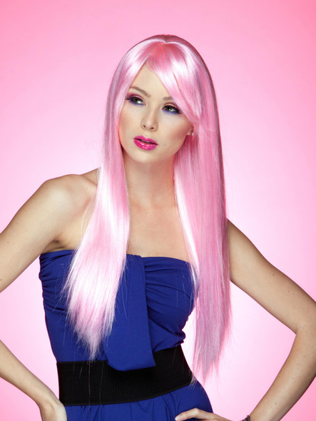 High Quality Blush Divine Costume Wig Cotton Candy Pink Womens X-Long Straight