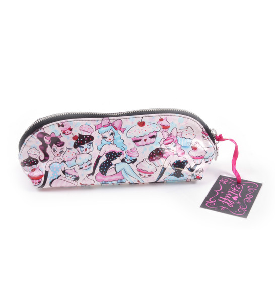 Cupcake Dolls Cosmetic Makeup Toiletry Bag Vintage Pin-Up Retro Rockabilly