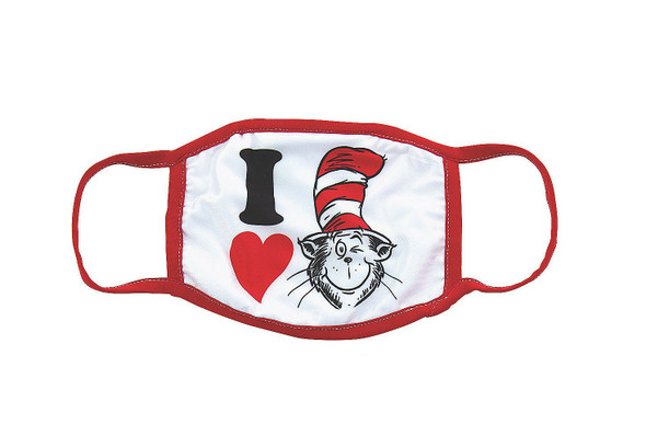 I Love Dr. Seuss Cat in The Hat Adult Face Covering Non-Medical Mask Washable