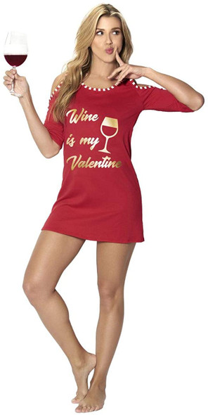 Mapale Wine Is My Valentine Red Gold Adult Women's Sleep Shirt Pajama SMALL