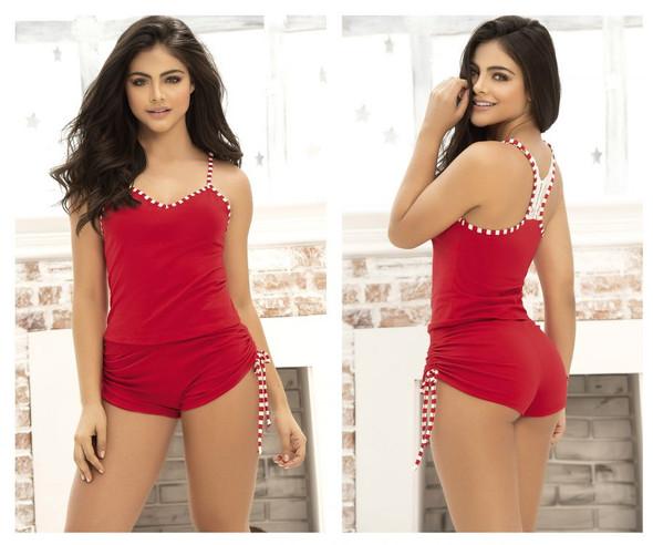 Mapale Red Two Piece Pajama Sleep Set Top & Shorts Christmas Women's SMALL