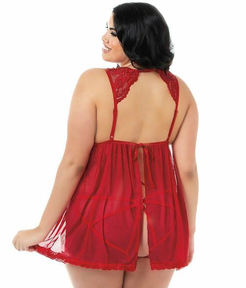 Dreamgirl 11236X Ruby Red Flyaway Babydoll Silver Hearts Women's Lingerie Plus