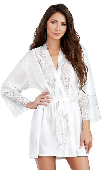 Dreamgirl 11497 White Satin & Lace Robe Charmeuse Women's Lingerie X-Large