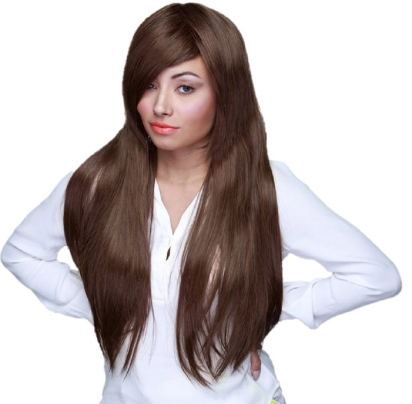 """Rockstar Quality 28"""" Long Straight Dark Brown Costume Wig Women's Stylable"""