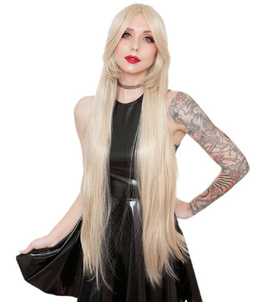 "Rockstar Quality 40"" Long Straight Dark Blonde Costume Wig Women's Stylable"