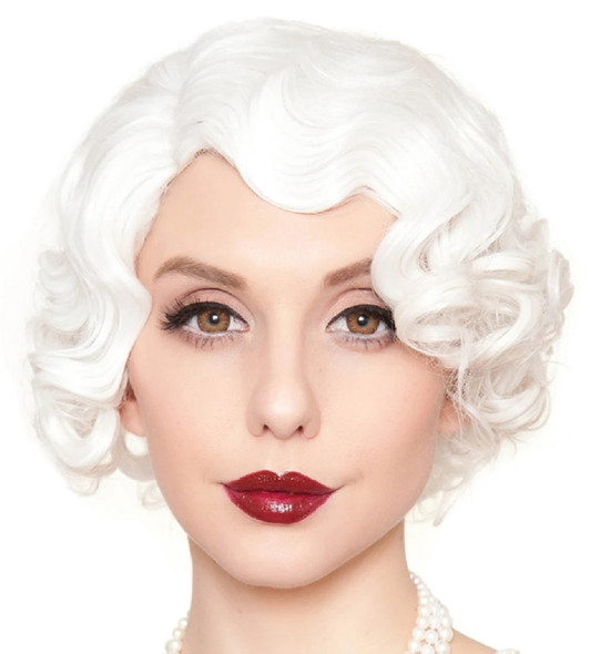 Rockstar Wigs Quality 1920s Flapper Finger Waves White Wig Retro Vintage Gatsby