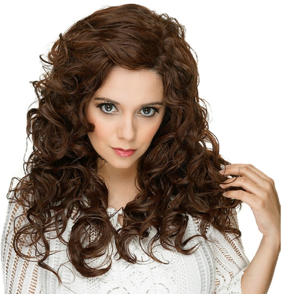 """Rockstar Cosplay Lacefront 22"""" Cosplay Curly Wig Anime Chocolate Brown Adult"""