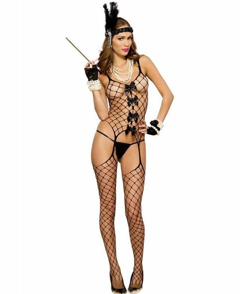 Music Legs Black Diamond Fishnet Bodystocking Women's Lingerie One Size