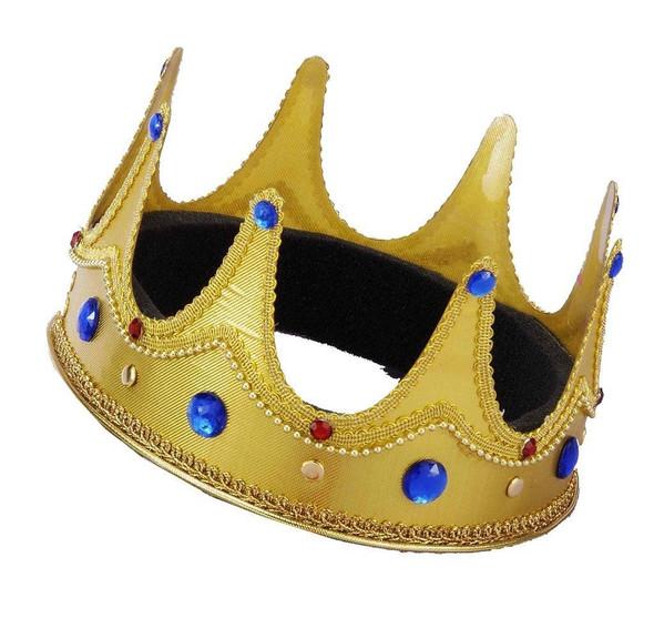 Forum Novelties Adjustable Bejeweled King Prince Queen Gold Crown Mardi Gras New