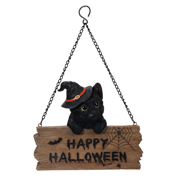 Pacific Giftware Happy Halloween Black Kitten Cat Welcome Sign Door Wall Plaque