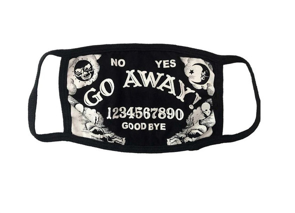 Go Away Ouija Face Covering Mask Non Medical Cotton Washable Black White Adult