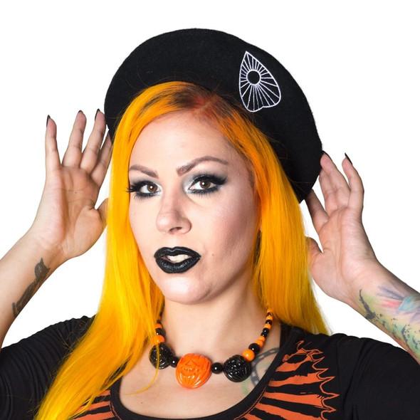 Kreepsville 666 Ouija Spirit Board Planchette Black Beatnik Beret Gothic Wear