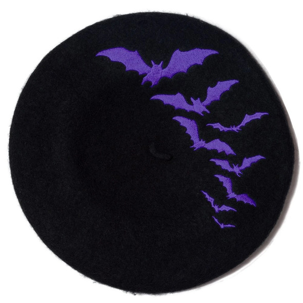 Kreepsville 666 Purple Bat Repeat on Black Beret Hat Adult Beatnik Gothic Wear