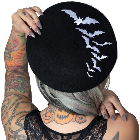 Kreepsville 666 White Bat Repeat on Black Beret Hat Adult Beatnik Gothic Wear