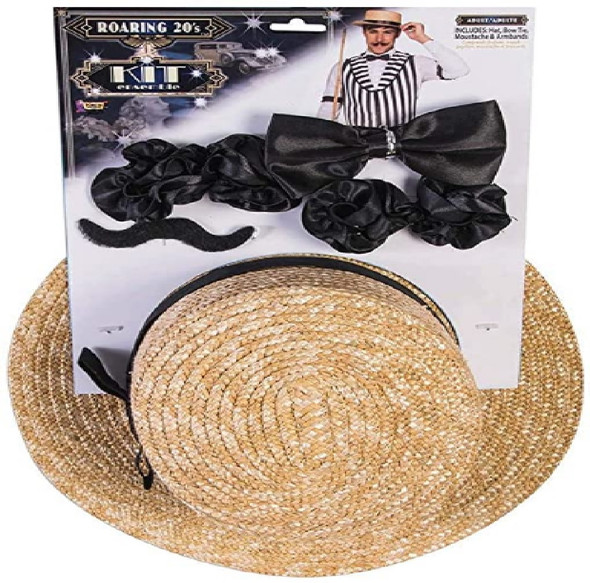 4pc Roaring 20's Men's Barbershop Bartender Kit Hat Bow Tie Moustache Armbands