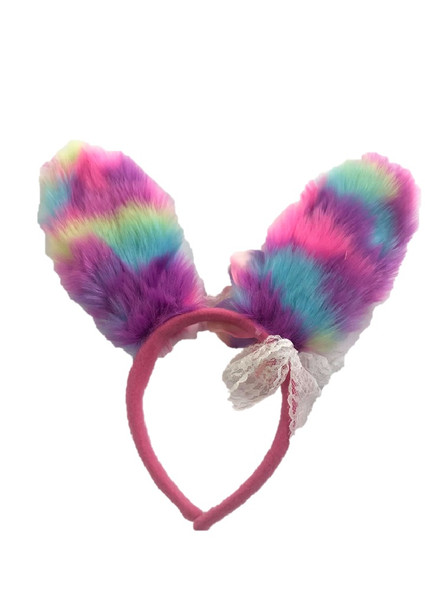 Easter Bunny Ears Headband Fun Fur Tie Dye Pastel Lace Bow Adult Child 3+