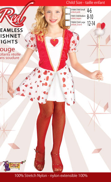 Girl's Red Seamless Fishnet Tights Child Costume Accessory Large 10-14 70-100lbs