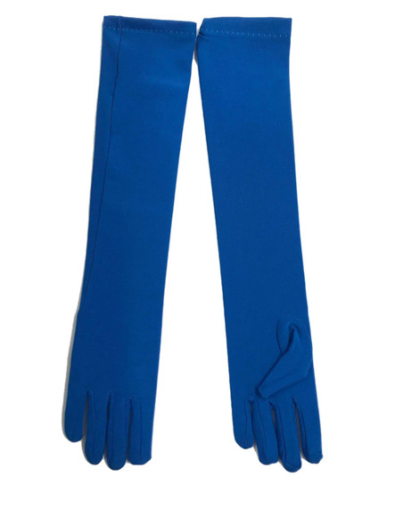 Evening Gloves Long Opera Length Nylon Dark Blue Adult Costume Accessory