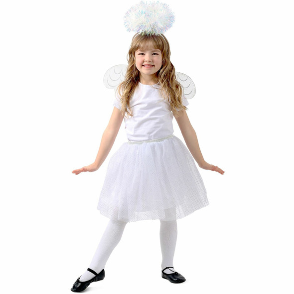 Princess Paradise White Tinsel Angel Tutu Skirt Set Girls Child Costume XS-SM