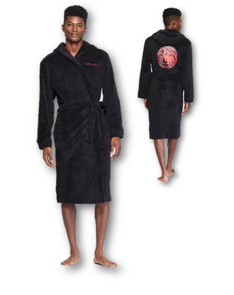 Licensed HBO Game Of Thrones Targaryen Black Plush Bathrobe Robe Adult Men SM/MD