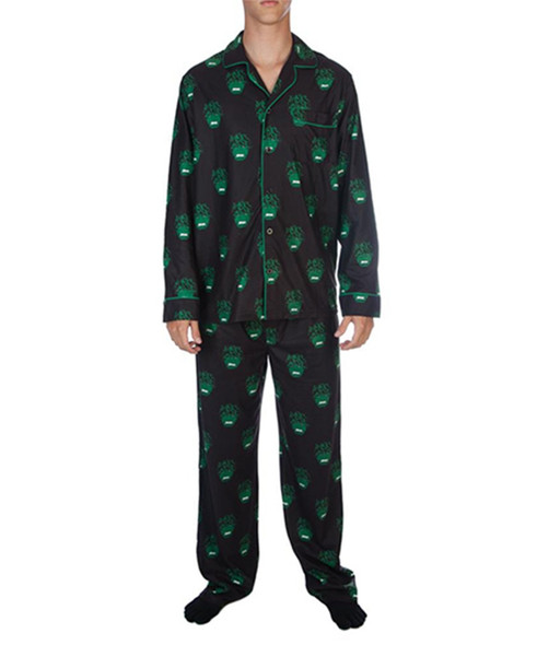 Marvel The Hulk Smash Pajama Set All-Over Print Adult Flannel PJ Sleepwear LARGE